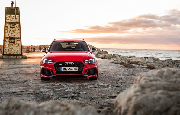 Picture Audi, coast, front view, 2018, RS4, Before