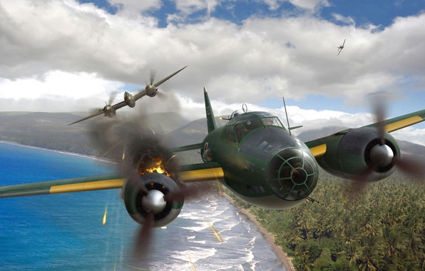 Picture Mitsubishi, bomber, painting, Lockheed, G4M, heavy fighter, P-38 Lightning