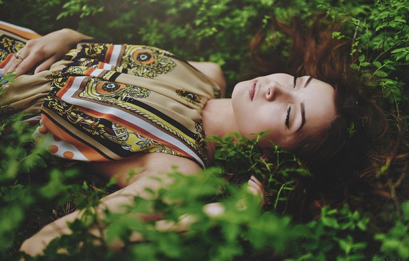 Picture grass, girl, sleep, spring, sleeping, Kris, Vladislav Selvvin