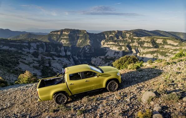 Photo wallpaper landscape, mountains, stones, yellow, vegetation, Mercedes-Benz, the roads, pickup, relief, 2017, X-Class