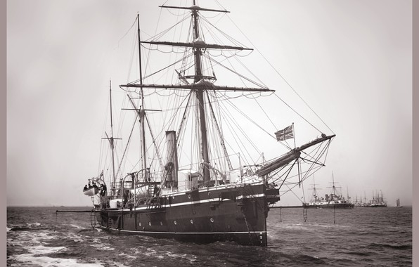 Picture retro, ship, sailing, One thousand eight hundred eighty eight