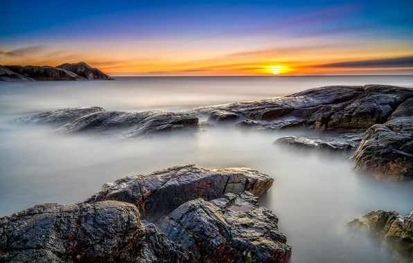 Picture sea, sunset, the evening, Norway, Norway, Rogaland, Nymark