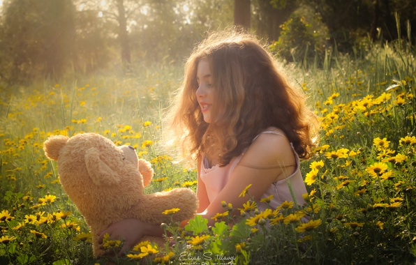 Picture flowers, mood, glade, toy, bear, girl, Teddy bear