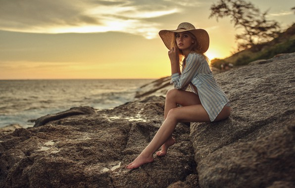 Picture sea, the sky, look, sunset, stones, model, hat, figure, horizon, hairstyle, blonde, shirt, legs, beauty, …