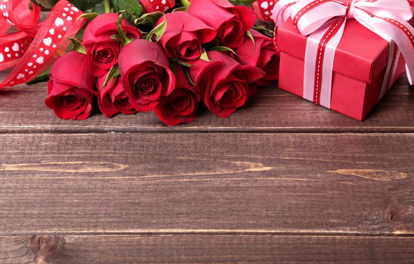 Picture gift, romance, roses, colorful, tape, red, bow, beautiful, Valentine's Day, gift, roses, romance, Valentine's day