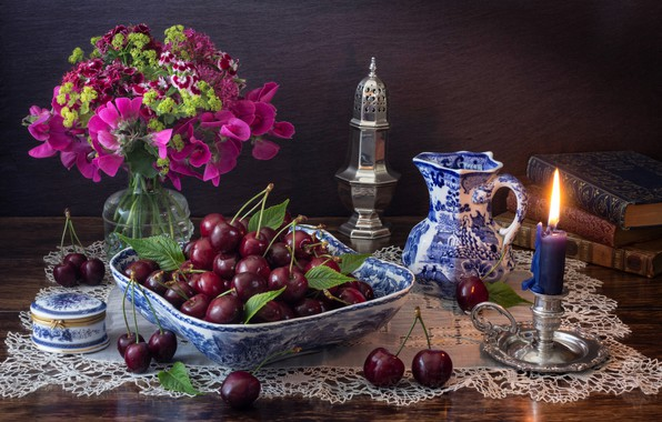 Picture flowers, style, berries, books, candle, bouquet, pitcher, still life, cherry, candle holder