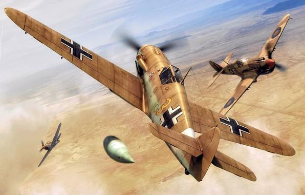Picture Messerschmitt, art, Curtiss, RAF, Air force, Fighter, Dogfight, WWII, Bavarian Aircraft Works, Mk.IIa, P-40B Tomahawk, …
