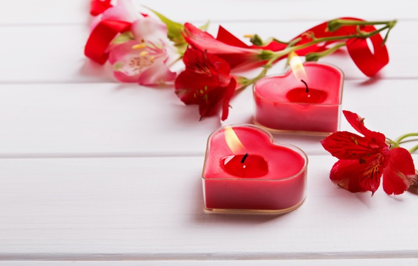 Picture flowers, candles, hearts, red, flowers, romantic, hearts, Valentine's Day, candles