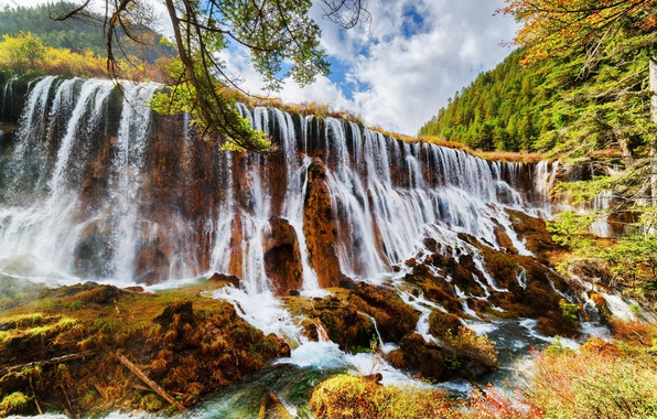 Picture forest, clouds, trees, mountains, branches, Park, waterfall, China, Sunny, the bushes, reserve, Jiuzhaigou