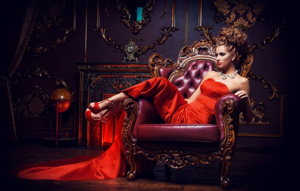 Picture girl, pose, interior, necklace, makeup, dress, hairstyle, shoes, brown hair, beautiful, sitting, in red, in …