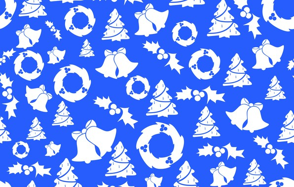 Picture background, texture, Christmas, New year, bells, tree, wreaths