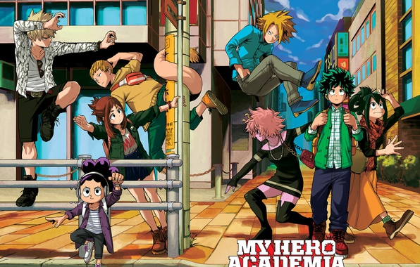 Picture city, anime, hero, manga, powerful, strong, yuusha, student, Boku no Hero Academy, My Hero Academia