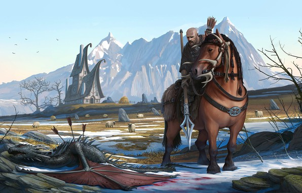 Picture mountains, horse, dragon, horse, warrior, fantasy, art, the plot, illustrator, romain flamand, berger defender