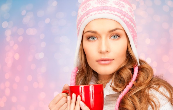 Picture look, close-up, face, glare, background, hat, portrait, makeup, hairstyle, mug, brown hair, beauty, red, sweater, …