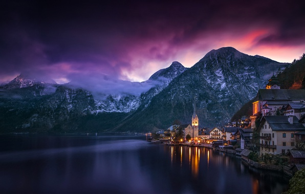 Picture the sky, clouds, mountains, lake, the evening, Austria, Hallstatt, Hallstatt