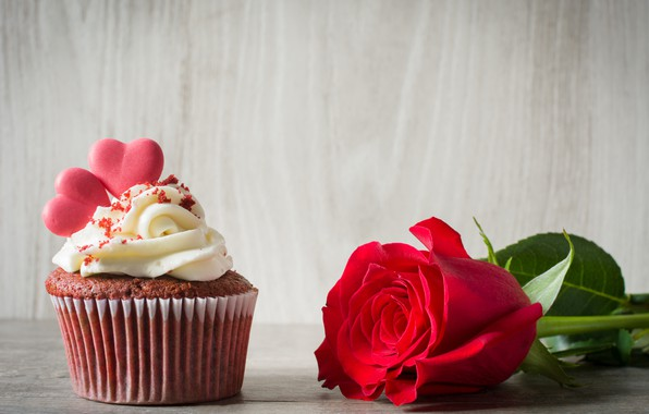 Picture rose, hearts, red, cream, cakes, cupcake, cupcake