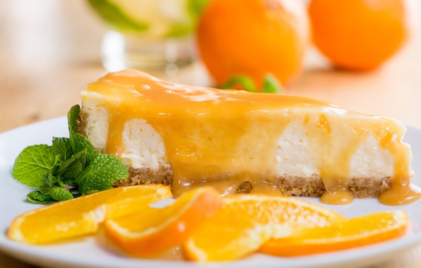 Picture cake, mint, dessert, slices, cheesecake, orange syrup