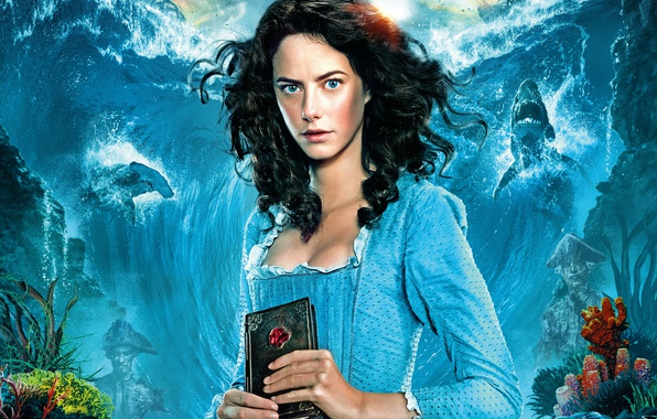 Picture sea, wave, background, ships, dress, corals, brunette, fantasy, hairstyle, book, beauty, sharks, Pirates of the …