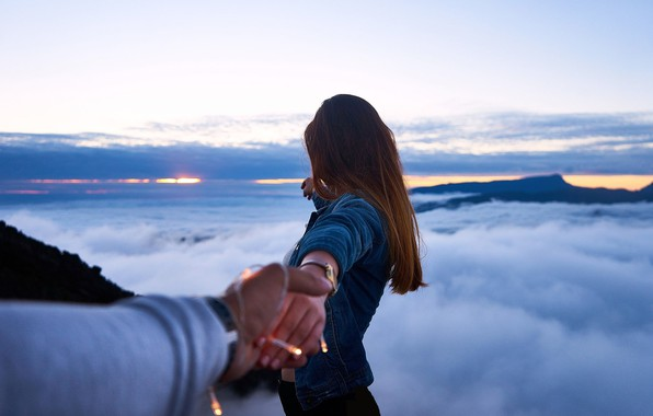 Picture the sky, girl, hair, hands, jacket