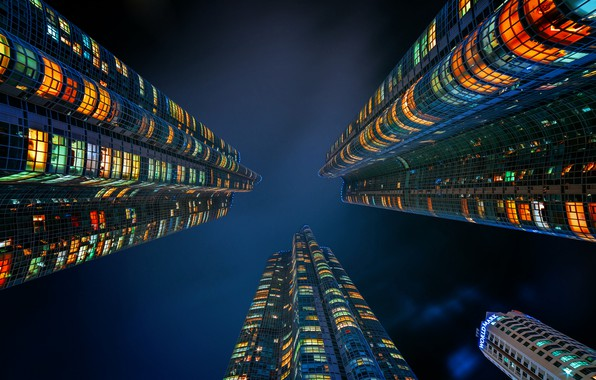 Picture city, lights, night, architecture, building, Skyscrapers, vertical