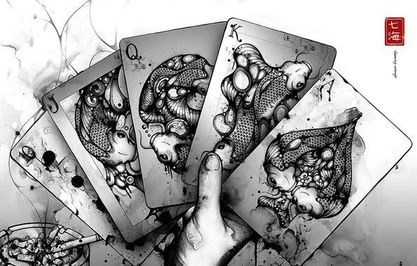 Picture card, white, black