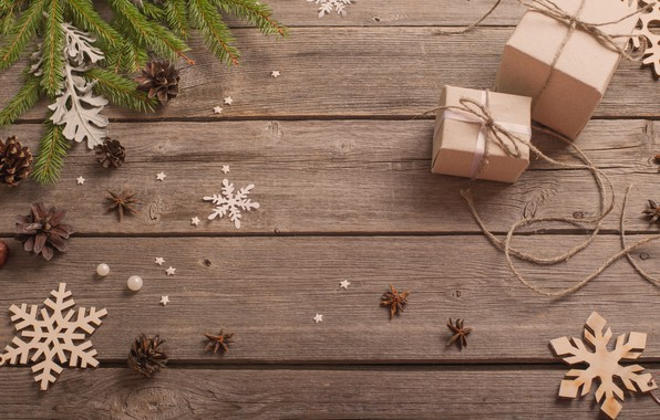 Picture snowflakes, new year, gifts, bumps, fir-tree branches