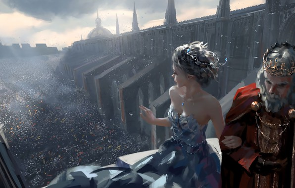 Picture girl, fantasy, party, cathedral, dress, crown, man, crowd, elf, digital art, artwork, princess, fantasy art, ...