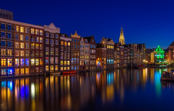 Picture building, home, Amsterdam, channel, Netherlands, night city, Amsterdam, Netherlands, Damrak, Damrak