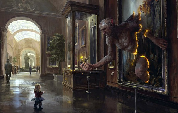 Picture sword, fantasy, flower, weapon, people, painting, child, digital art, artwork, situation, fantasy art, museum, statue, …