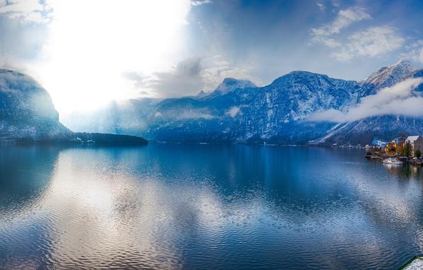 Picture mountains, lake, home, Austria, Alps, promenade, Austria, Hallstatt, Alps, Lake Hallstatt, Hallstatt, Lake Hallstatt