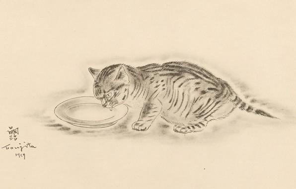 Picture cat, milk, bowl, drinking, 1929, lapping, Tsuguharu, Fujita, The Book Of Cats