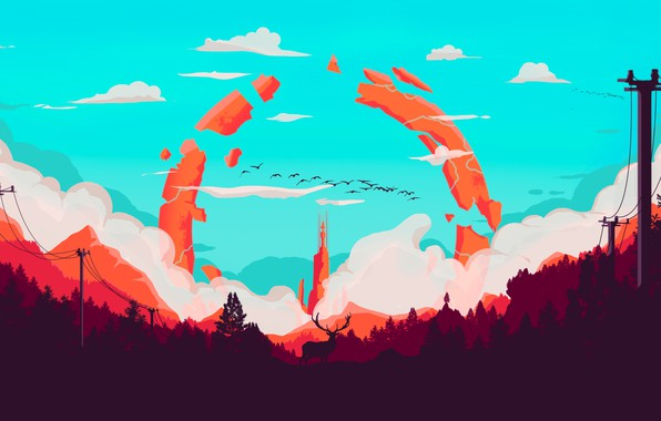Picture Mountains, Tower, The game, Smoke, Forest, View, Birds, Hills, Deer, Landscape, Art, Campo Santo, Firewatch, ...