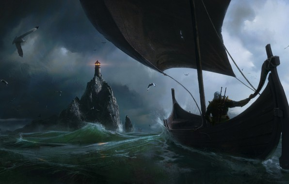 Picture the witcher, Fantasy, Games, sea, art, boat, lighthouse, Painting, Jeremy Paillotin