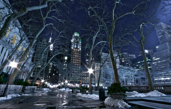 Picture city, lights, USA, road, trees, night, New York, NYC, New York City, winter, snow, bench, …
