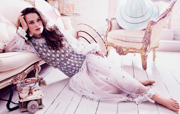Picture retro, sofa, interior, chair, barefoot, makeup, dress, actress, brunette, hairstyle, Keira Knightley, phone, Keira Knightley, …