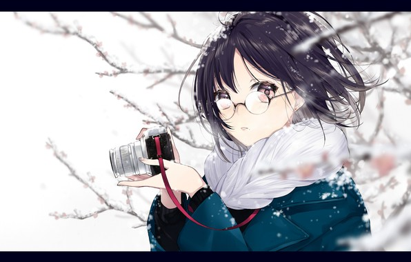 Picture girl, snow, surprise, anime, art, glasses, the camera, sogawa