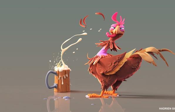 Picture beer, art, cock, Chicken Beer !, hadrien-gouedard
