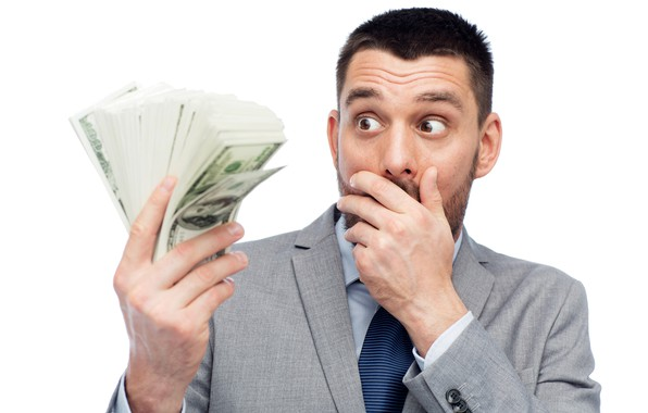 Picture money, surprise, costume, white background, male, dollars, pack, bills