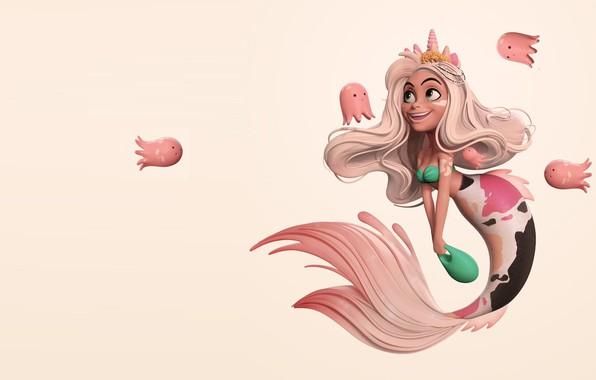 Picture art, fantasy, the little mermaid, children's, Danny Mac, Mermay, small octopus