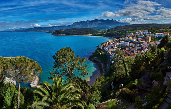Picture sea, greens, summer, the sun, clouds, trees, mountains, coast, home, panorama, Spain, forest, meadows, Asturias, …