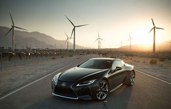 Photo wallpaper road, the sun, Lexus, photographer, LC 500, Larry Chen