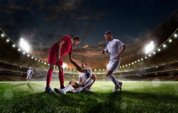 Picture field, the sky, grass, night, lights, lawn, football, uniform, tribune, stadium, athletes, floodlight, players