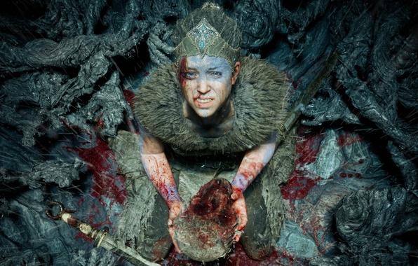 Picture sake, girl, blood, game, weapon, woman, blade, head, Bright blade, Hellblade Senua's Sacrifice
