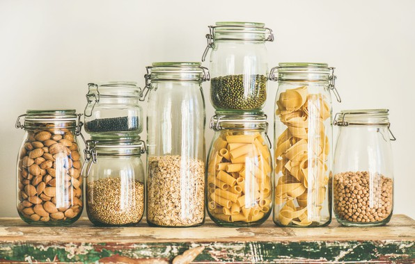 Picture banks, nuts, pasta, cereals