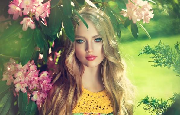 Picture summer, look, girl, flowers, makeup, Girl, blonde, flowers