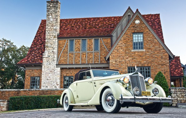 Photo wallpaper house, machine, classic, mansion, Packard