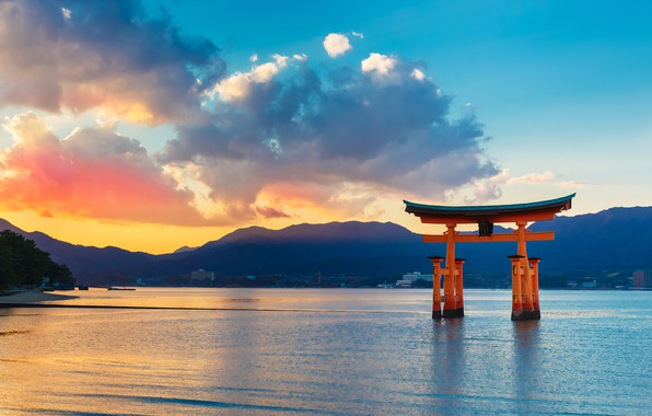 Picture landscape, space, the ocean, dawn, stay, silence, gate, Japan, blur, beautiful, summer, sunrise, bokeh, torii, …