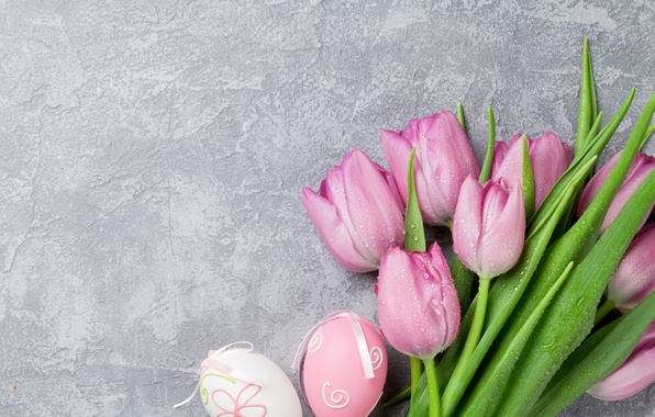 Picture Easter, tulips, pink, pink, tulips, spring, Easter, eggs, decoration, Happy, tender, pastel