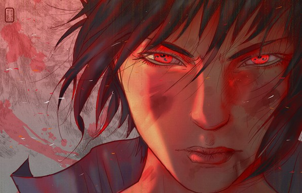 Wallpaper look, face, the wind, red eyes, Sharingan ...