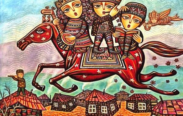 Picture stars, children, horse, home, Homeland, Sevada Grigoryan